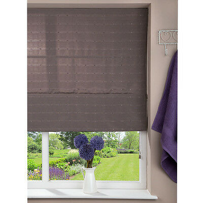Fabric Roman Shade Window Blind - Cord - Patterned Brown - 80 x 160cm