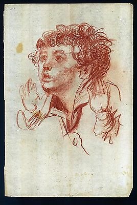 JEAN-BAPTISTE GREUZE - drawing on original paper of the 18th century -