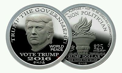 2016 Trump Dollar 1 oz .999 Silver $25 Round Type II Proof-Like Coin
