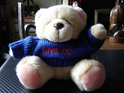 "Forever friends plush bear ""Love You"" on blue knit jumper. 5.5"" tall"