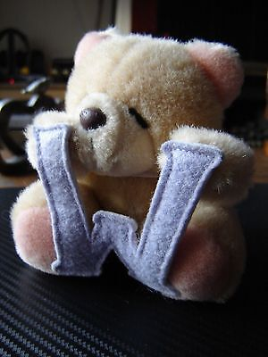 """Forever friends plush bear holding the letter W. 5"""" tall"""