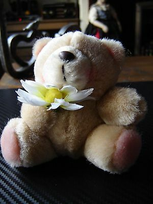 "Forever friends plush bears 1 holding a flower and one in headscarf. 3.5"" tall"