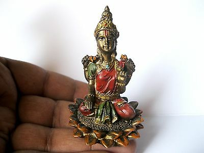 SMALL LAKSHMI STATUE 6 CM Hindu Goddess of Wealth NEW Resin Laxmi Idol GT01