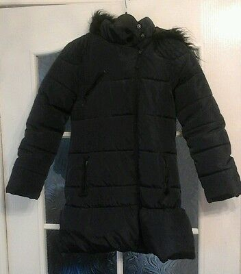 Next Girls Winter Padded Coat Navy Age 9 10 Years  Vg Used Condition .