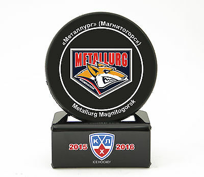 KHL Official Hockey Puck with holder. Metallurg Magnitogorsk