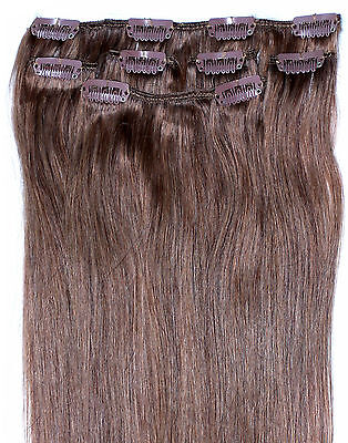 "16"" Clip in HUMAN HAIR EXTENSIONS Light Brown #6"