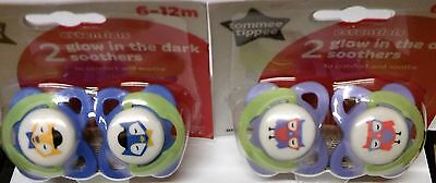 Tommee Tippee Glow in Dark essentials orthodontic latex soothers 6-12m bpa free