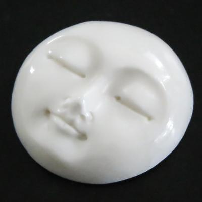 "13/16"" 21MM CLOSED EYES MOON MOONFACE BISON BONE BEAD CAB cabochon"