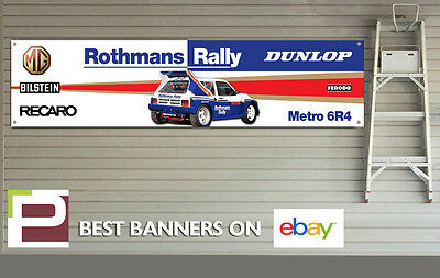 MG Metro 6R4 Rally Car Banner for Workshop, Garage, Group B, Rothmans, Dunlop