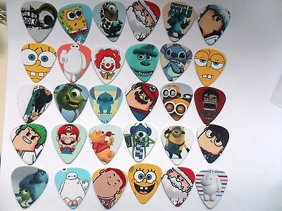 Set of 30 Assorted CARTOON Character  Guitar  Plectrum / Picks Two Sided  A