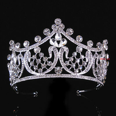 7cm High Flower Drip Full Crystal Crown Wedding Bridal Party Pageant Prom Tiara