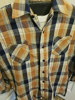 Vintage 1970s 80s Sears Flannel Plaid Shirt