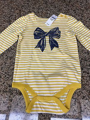 NWT babyGap Girl's Long Sleeve T-shirt Onesie, Size 18-24M