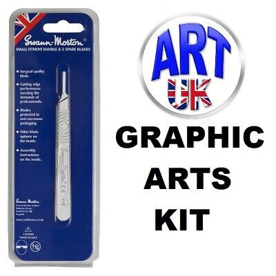 Swann-Morton GRAPHIC ARTS KIT no. 3 small fitment handle & pack of 5 x 10A