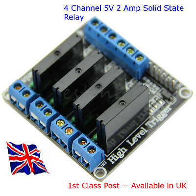 4 Channel 5V SSR Solid-State Relay - 2 Amp Available in UK Arduino Raspberry Pi