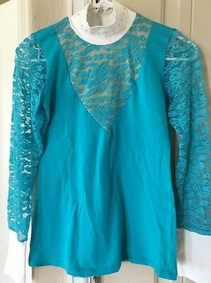 Cavalliera Lace Show Shirt Long Sleeve Turquoise/Teal