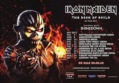 IRON MAIDEN The Book Of Souls 2017 UK Tour PHOTO Print POSTER Shinedown World 54