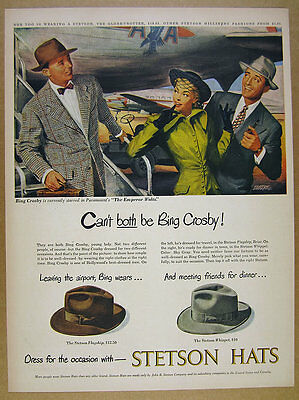 1949 Stetson Hats Bing Crosby & American Airlines plane art vintage print Ad