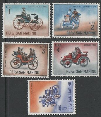 San Marino stamps.  1962 Vintage Cars. Low Values. MLH