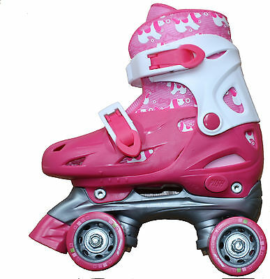 Girls Roller skates adjustable to 4 sizes quad wheel pretty pink & white boot