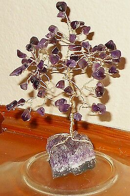 5.5 inch--Colorful AMETHYST gem tree on a natural AMETHYST crystal cluster