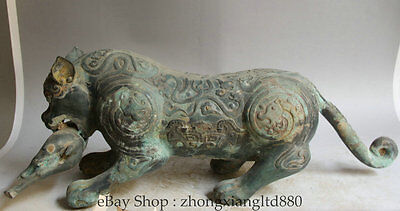 """23"""" Old Chinese Dynasty Bronze Zodiac Year Tiger Beast capture Bull Oxen Statue"""