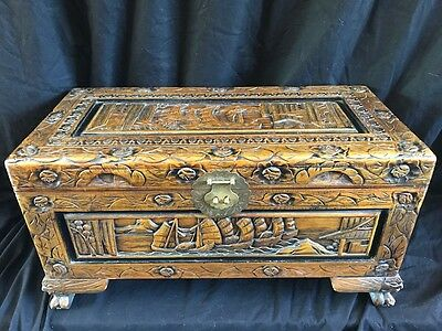Antique Vintage Style Oriental Carved Flowers & Ships Camphor Chest Coffee Table
