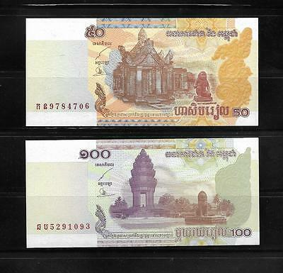 2 Banknotes From Cambodia 50 And 100 Riels Crisp Unc.