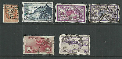 France  old collection of 6. used.Merson 3Fr perfin cancel.