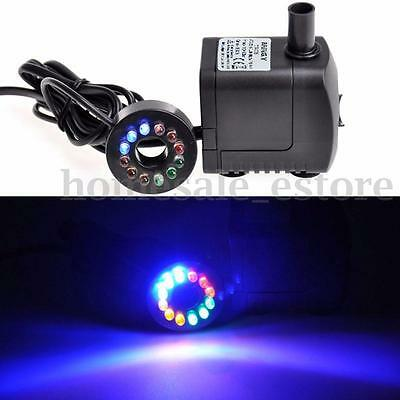 420L/h Submersible Tabletop Fountain Aquarium Pond Water Pump LED Changing Light