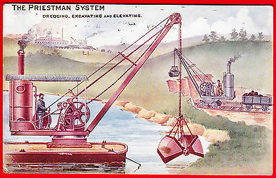 POSTCARD - THE PRIESTMAN SYSTEM - Dredging, Excavating, Elevating - ADVERTISING