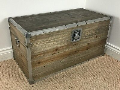 LARGE INDUSTRIAL / VINTAGE STYLE CHEST Storage Trunk / Coffee Table  *ASSEMBLED*