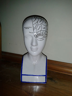 Phrenology Head Ornament - ceramic, scientific Hypnotherapy