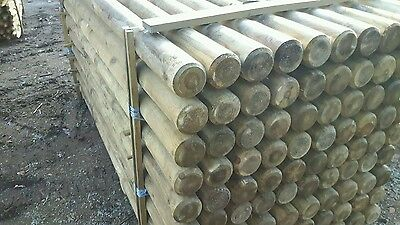 20no 2.4M X 100MM MACHINED ROUND POINTED GARDEN TIMBER FENCE POST TREE STAKES