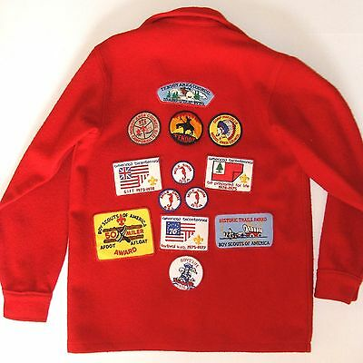 VTG 70s Boy Scouts Official Wool Jacket & Patches Red Size Men's Small EUC USA