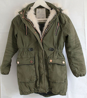 Girls green parka coat with pink fur hood AGED 9/10