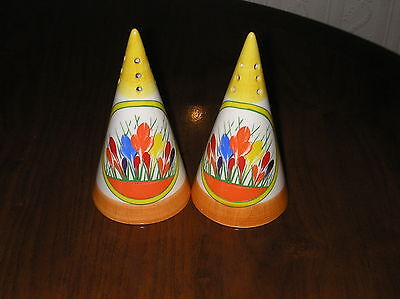 A Pair Of Rare Design Clarice Cliff Crocus Design Sugar Shakers By Moorland Mint