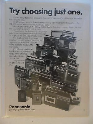 1975 Print Ad Panasonic ~ Portable Stereo Tape Recorders Try Choosing Just One