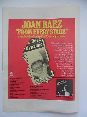 1976 Print Ad Record Album Promo ~ JOAN BAEZ 'From Every Stage'