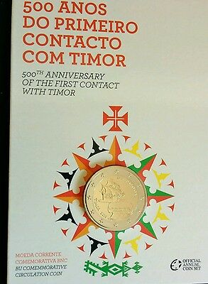 """2 EURO PORTUGAL 2015 """"500th CONTACT THE FIRST YEARS WITH TIMOR"""" (IN COIN CARD)"""