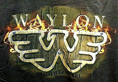 Waylon Jennings Nashville Rebel Large Brown Shirt Flying W Waylon Logo On Fire!