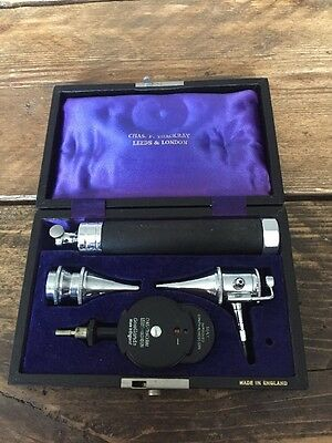 Vintage CHAS F. THACKRAY Ophthalmoscope Diagnostic Set ace By Gowllands England
