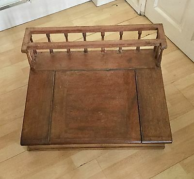 Antique  Clerk/accountants Writing Desk Railed Surround