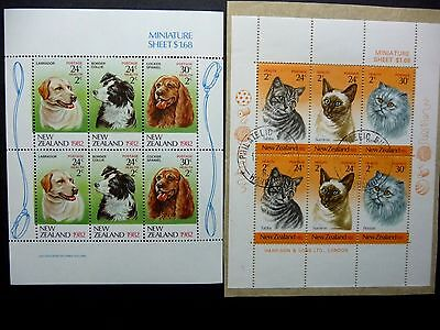 N Z Qeii1982-3  Health Stamps Dogs & Cats  Ms1273/1323  Cat £6.25   Mnh/used
