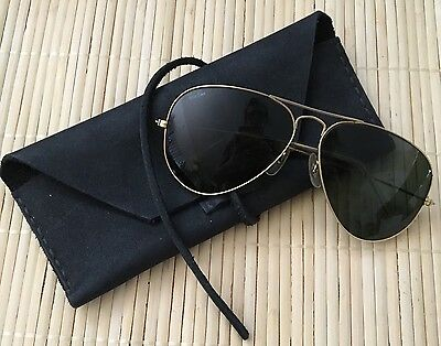 Authentic Ray Ban Vintage Aviator Sunglasses Gold Frames Green Lenses