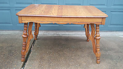 Antique Solid Oak Dining Kitchen Table & 4 Chairs Set Honey Solid Wood NICE