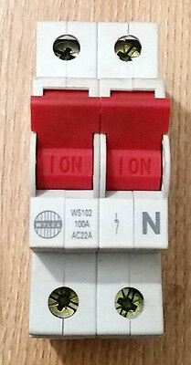 NEW Wylex WS102 Main Isolator Switch 100a Double pole DP
