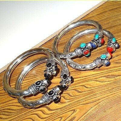 Wholsale Lot 4 Pcs 925  Silver Plated Turquoise & Multi Stone Bangle / Cuff