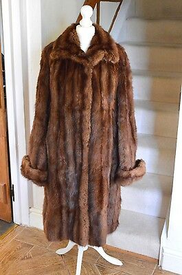 Vintage Genuine Real Fur Amazing Mahogany Brown Mink Jacket Full Coat 10-12-14