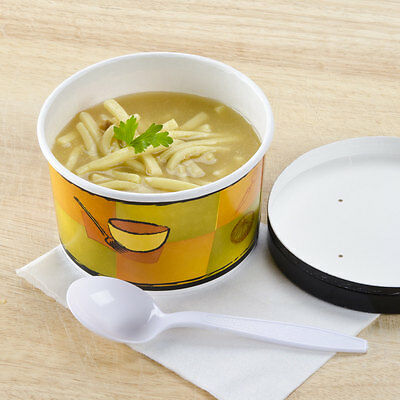 200-12 Oz Huhtamaki Chinet 71850 Double Wall Hot Soup Bowl/Cup w/Lids